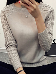 Women's Casual/Daily Work Simple Short Pullover,Solid White Black Brown Gray Round Neck Long Sleeve Cotton Spring Medium Micro-elastic