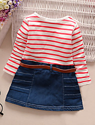 Girl's Going out Casual/Daily Striped Dress Spring Fall Long Sleeve