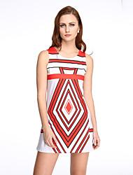Damen Hülle Kleid-Ausgehen Einfach / Street Schick Druck Rundhalsausschnitt Mini Ärmellos Rosa / Rot / Weiß / Schwarz / Gelb Polyester
