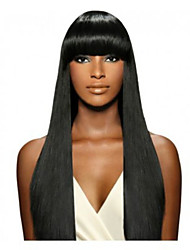 cheap -Human Hair Lace Front Wig Straight 130% Density 100% Hand Tied African American Wig Natural Hairline Medium Long Women's Human Hair Lace