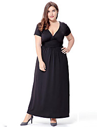SWEET CURVE Women's Plus Size Boho Swing Dress,Solid Deep V Maxi Short Sleeve Black Purple Polyester Spandex Spring Summer High Rise Micro-elastic