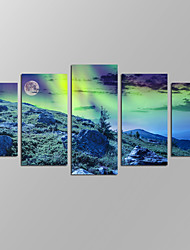 VISUAL STAR®Northern Light and Full Moon Picture Giclee Artwork 5 Panels Modern Home Wall Decoration Framed Canvas Print Ready to Hang
