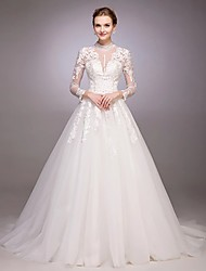 cheap -A-Line Princess Jewel Neck Chapel Train Lace Over Tulle Custom Wedding Dresses with Beading Appliques by LAN TING BRIDE®