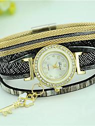 Women's Bracelet Watch Fashion Watch Quartz Rhinestone Imitation Diamond Leather Band Casual Black White Blue Red Brown Pink