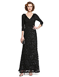 cheap -A-Line V-neck Ankle Length Lace Jersey Mother of the Bride Dress with Appliques Sequins Pleats by LAN TING BRIDE®