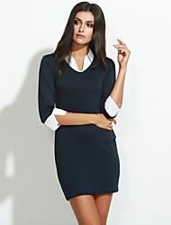 preiswerte -Damen Arbeit Bodycon Kleid Solide Mini Hemdkragen