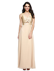 cheap -Sheath / Column V-neck Floor Length Taffeta Georgette Bridesmaid Dress with Ruching Criss Cross by LAN TING BRIDE®