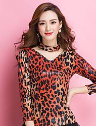 Balli da sala Top Per donna Addestramento Viscosa Leopardo 1 pezzo Maniche lunghe Naturale Top