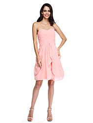 Sheath / Column Sweetheart Knee Length Chiffon Bridesmaid Dress with Criss Cross Ruching by LAN TING BRIDE®