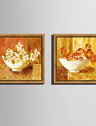Floreale/Botanical Natura morta Tele con cornice Set con cornice Decorazioni da parete,PVC Materiale Oro Senza passepartout con cornice