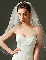 Três Camadas Borda Enfeitada Véus de Noiva Véu Cotovelo Com Pérola Franzido Organza