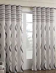 Rod Pocket Grommet Top Tab Top Double Pleat Two Panels Curtain Baroque , Print Bedroom Polyester Material Curtains Drapes Home Decoration