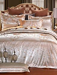 preiswerte -Bettbezug-Sets Blumen 4 Stück Seide/Baumwolle Jacquard Seide/Baumwolle 4-teilig (1 Bettbezug, 1 Bettlaken, 2 Kissenbezüge)