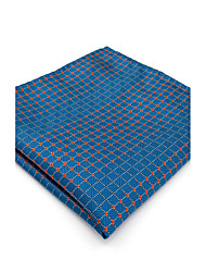cheap -Mens Pocket Square Royal Blue Checked 100% Silk Business Dress Jacquard Woven For Men
