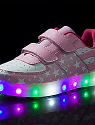 cheap -Boys' Shoes Real Leather Spring Fall Light Up Shoes Comfort Novelty Sneakers Magic Tape LED For Casual Outdoor Blushing Pink