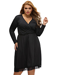 Women's Casual/Daily Formal Simple Loose Dress,Solid V Neck Knee-length Long Sleeve Polyester Black All Seasons Low Rise Micro-elastic