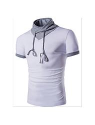 Herren Solide Einfach Lässig/Alltäglich T-shirt,V-Ausschnitt Kurzarm Blau Weiß Schwarz Grau Baumwolle