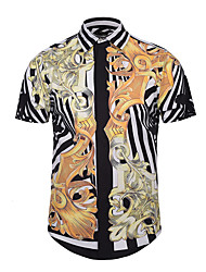 cheap -Men's Party / Club Active / Street chic / Punk & Gothic Slim Shirt - Abstract Print / Short Sleeve