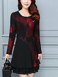 cheap -Women's Going out Street chic Plus Size A Line Above Knee Dress Print Round Neck Long Sleeves Spring Fall