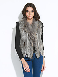 Women's Tassel Fur Vest With Sleeveless Shawl Rabbit Fur Casual Vest(More Colors)