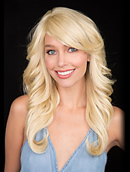 Heat Safe Long Blonde Loose Wave Capless Human Hair Wigs 2017