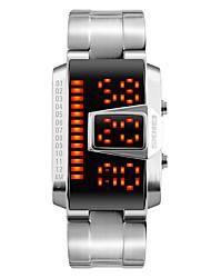 Недорогие -Мужской Модные часы Наручные часы электронные часы LED Календарь Защита от влаги Цифровой сплав Группа Cool Черный Серебристый металл