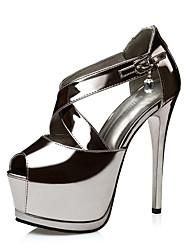 Feminino-Saltos-Light Up Shoes-Salto Agulha-Dourado Preto Prata Khaki-Couro Ecológico-Escritório & Trabalho Social Casual Festas & Noite