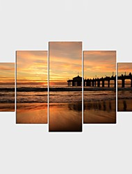 Stretched Canvas Print Landscape Style Realism,Five Panels Canvas Any Shape Print Wall Decor For Home Decoration