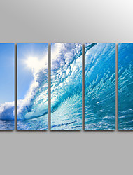 cheap -Rolled Canvas Prints Landscape Modern, Five Panels Canvas Vertical Print Wall Decor Home Decoration