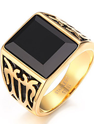 Men's Fashion Vintage Stainless Steel Engraved Personality Black Agate Jewelry Onyx Rings Casual/Daily/Party 1pc