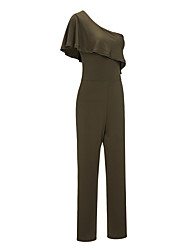 cheap -Women's Cotton Jumpsuit - Solid Colored, Ruffle High Rise One Shoulder