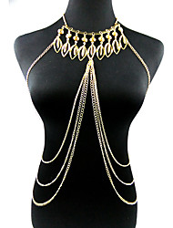 Body Jewelry Body Chain Alloy Leaf Fashion Gold Europe Multilayer Tassels Unique Necklace/pendant Bikini Harness