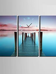 Modern/Zeitgenössisch Anderen Wanduhr,Rechteckig Leinwand 30 x 60cm(12inchx24inch)x3pcs/ 40 x 80cm(16inchx32inch)x3pcs Drinnen Uhr