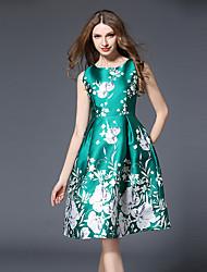 abordables -Mujer Tejido Oriental Vaina Vestido - Estampado