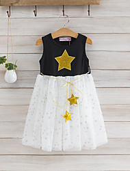 cheap -Girl's Daily Patchwork Dress, Cotton Polyester Summer Sleeveless Cartoon Lace White Black
