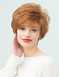 Popular  Fluffy Short Natural Wavy Human Hair Wig