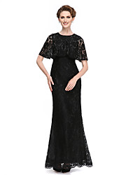 cheap -Mermaid / Trumpet Jewel Neck Ankle Length Lace Mother of the Bride Dress with Lace by LAN TING BRIDE®