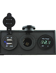 cheap -12V/24V Power charger3.1A USB port and 12V voltmeter gauge with housing holder panel for car boat truck RV(With green voltmeter)