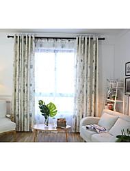 Tringle oeillets Onglet supérieur Plis double Plis crayon Deux Panneaux Le traitement de fenêtre Rustique , Imprimé Fleur Chambre à