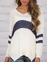 Women's Casual/Daily Simple Spring Summer T-shirt,Striped V Neck Long Sleeve Blue Acrylic Medium