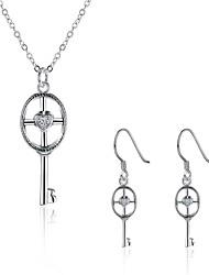 Smykkesæt Kvadratisk Zirconium Zirkonium Plastik Sølvbelagt Imitation Diamond Sølv Daglig Afslappet 1 Sæt 1 Halskæde 1 Par Øreringe