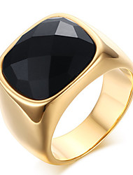 cheap -Men's Fashion Vintage Stainless Steel Engraved Personality Agate Jewelry Onyx Gold Plating Rings Casual/Daily/Party 1pc