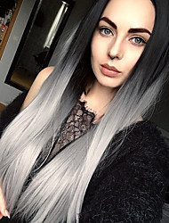 cheap -Women Synthetic Wig Long Straight Grey Ombre Hair Dark Roots Middle Part Natural Wigs Halloween Wig Carnival Wig Costume Wig