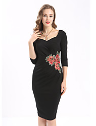 cheap -Maxlindy Women's Embroidery Going out Daily Work Vintage Bodycon Dress