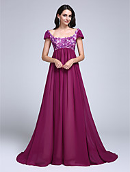 A-Line Scoop Neck Court Train Chiffon Formal Evening Dress with Appliques Sequins by TS Couture®
