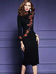 cheap -Women's Going out Plus Size Chinoiserie Bodycon Dress,Embroidered Round Neck Midi Long Sleeves Polyester Spring Fall Mid Rise