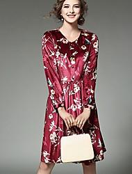 Gaine Robe Femme Décontracté / Quotidien simple,Imprimé Col Arrondi Mi-long Manches Longues Rouge Beige Spandex Printemps Taille Normale