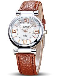 Недорогие -Жен. Модные часы Наручные часы Кварцевый Кожа Группа На каждый день Cool Черный Белый Красный Коричневый