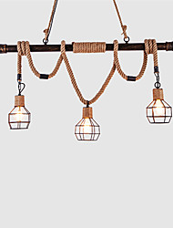 cheap -3 heads Rustic Metal Water Pipe Hemp Rope Pendant Light Living Room Dining Room pendant lights