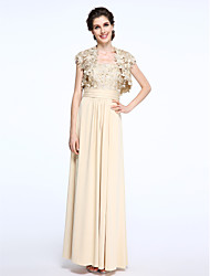 cheap -Sheath / Column Straps Ankle Length Chiffon Lace Mother of the Bride Dress with Lace Ruching by LAN TING BRIDE®